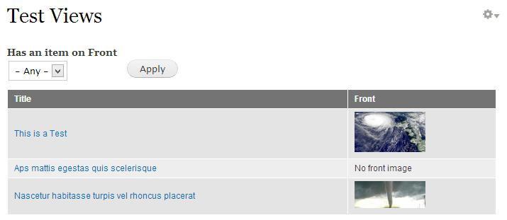 Ejemplo 1: Views has item. Lista de contenidos y un filtro para consultar por aquellos que tienen una imagen Front